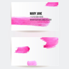 Business card template with pink strokes