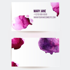 Business card template with  violet watercolor