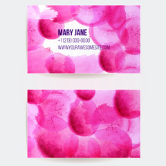 Business card template with pink  watercolor