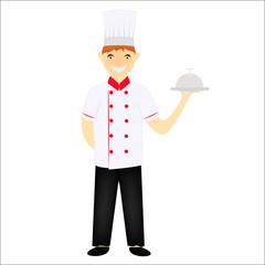 Chief chef cook in kitchen luxury restaurant in uniform