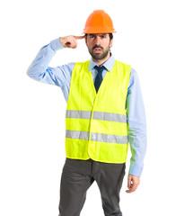 Workman making crazy gesture