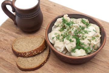 Dumplings with meat: Pelmeni russian national dish.