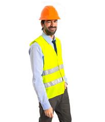 Workman over white