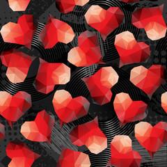 Red hearts on grunge black background.