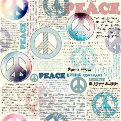 Imitation of grunge newspaper with pacific symbols.