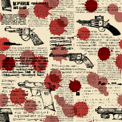 Imitation of retro newspaper with the images of pistols