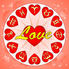 signs of zodiac on Valentine's day, vector illustration
