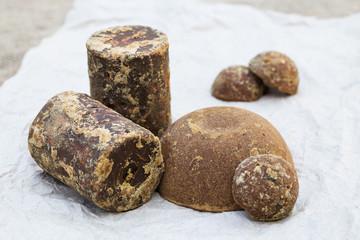 Brown palm sugar briquettes
