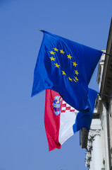 croatian and european union flag
