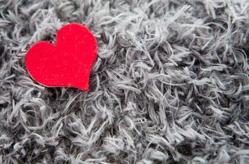 coeur sur couverture de laine