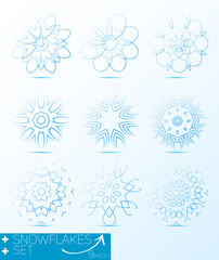 Great set of magic snowflakes winter object vector for design