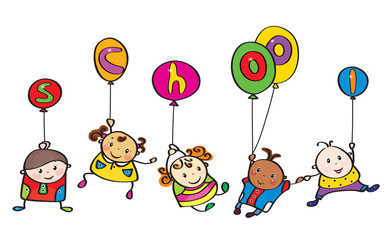 Vector fun kids cartoons  with balloons.