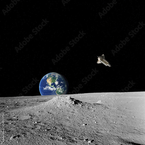 Space shuttle, Earth and stars as seen from Moon's surface. - 74827234