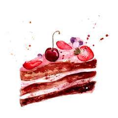 Watercolor cake with pink fruit cream, cherry
