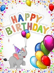 Birthday cartoon with happy elephant