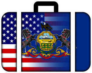 Suitcase with USA and Pennsylvania State Flag
