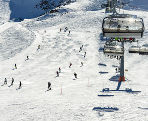 The chair lifts of Zell am See - Kaprun ski region in Austria