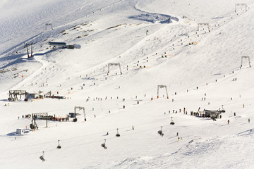 Snowboard and ski park at Kitzsteinhorn ski resort, Austria
