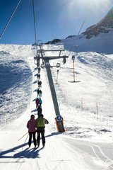 People and rope tow systems in one of most popular ski region in