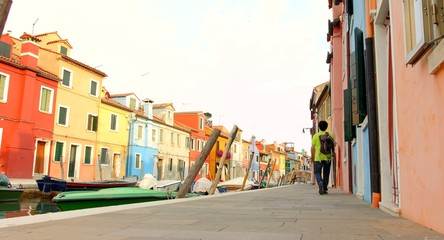 Tourist Walking Venice Burano Canal Vintage House Boat Island