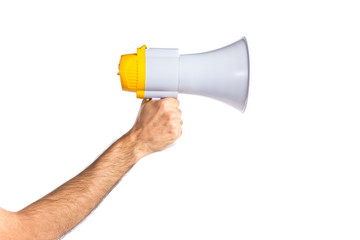 hand holding a megaphone over white background