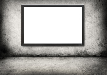gray concrete wall  with digital screen