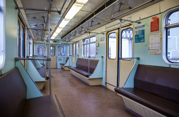 Interior view of the wagon train in subway