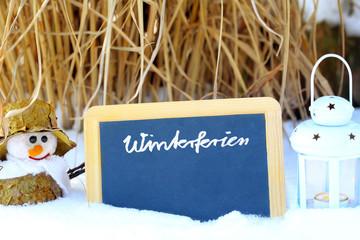 Winterferien, Tafel, Schneemann, Laterne