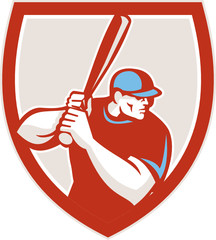 Baseball Player Batter Hitter Shield Retro