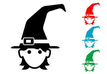 Pictograma icono bruja con varios colores.