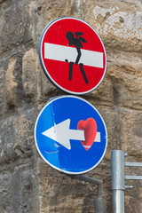 Florence, Italy - August 5, 2014 - Street art by Clet Abraham