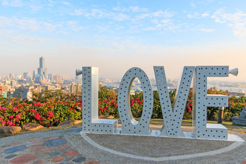 Kaohsiung skyline at sunset with the Love sign.