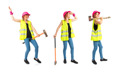 Work woman with ax over white background