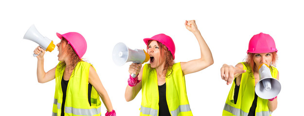 Worker woman shouting over isolated white background