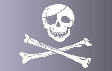 piracka czaszka na szarym tle
