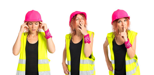 Worker woman yawning over isolated white background