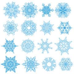 Blue snowflakes isolated set on white. EPS 10