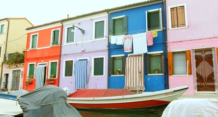 Retro Vintage House Boat Canal Venice Burano Summer Vacation