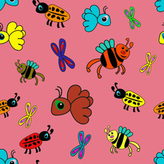 seamless pattern with insects