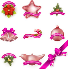 Set of Christmas attributes and toys. EPS 10