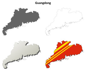 Guangdong blank outline map set