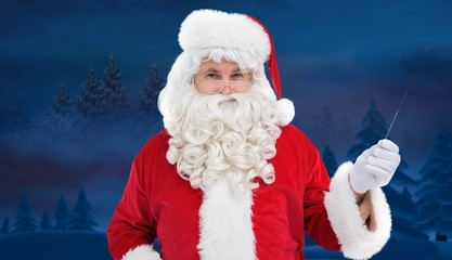 Composite image of portrait of perplexed santa holding