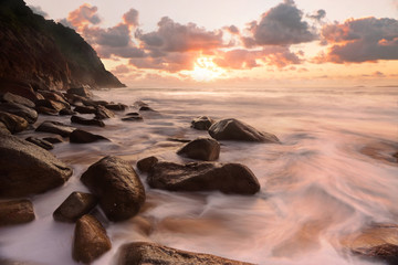 Rocky ocean flows Zenith Beach Seascape