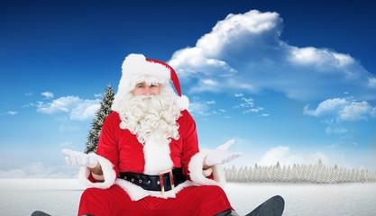 Composite image of doubtful santa sitting alone