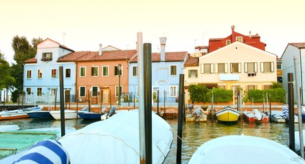 Boats Houses Colorful Venice Italy Vacation Background Tourism