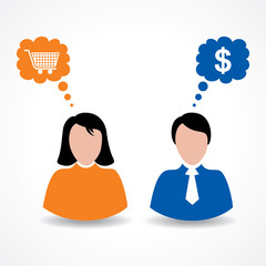 Male and female thinks about shopping and money stock vector
