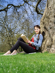 Young student studying outside