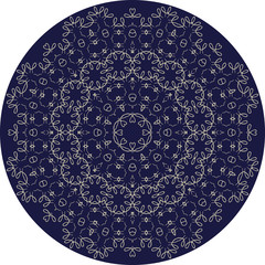 Circle sophisticated symmetric floral pattern in Celts style
