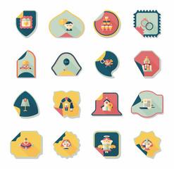 Wedding sticker flat design background set, eps10