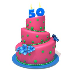 Birthday cake with number fifty 3d illustration
